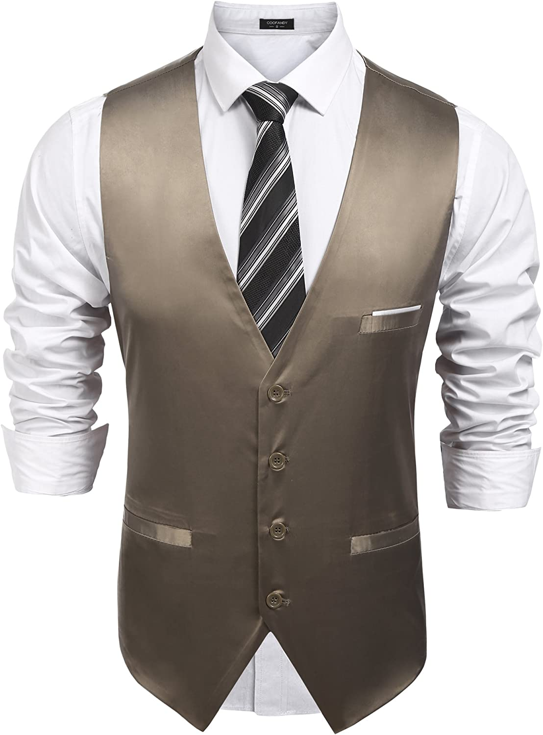 COOFANDY Men's Pinstripe Suit Vest Slim Fit Casual Business Waistcoat Jacket Vests