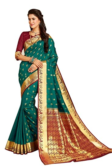 877240b881 Craftsvilla Women's Bangalore Silk Zari Work Green Saree with blouse piece:  Amazon.in: Clothing & Accessories