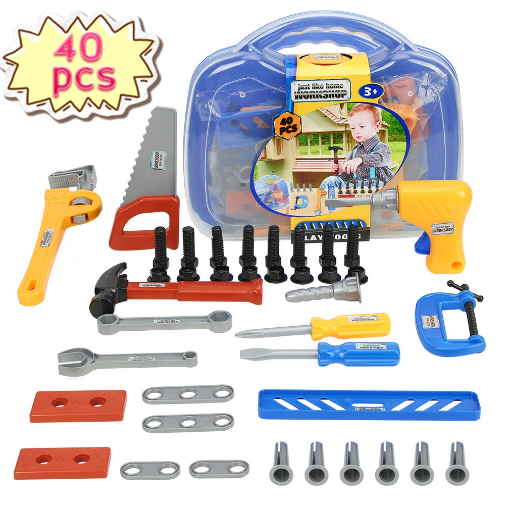 Durable Kids Tool Set, KOMZONG toddler toy tools, Boys Construction Play Tools Kit with - Educational Toys Birthday Present for Kids (40PCs)