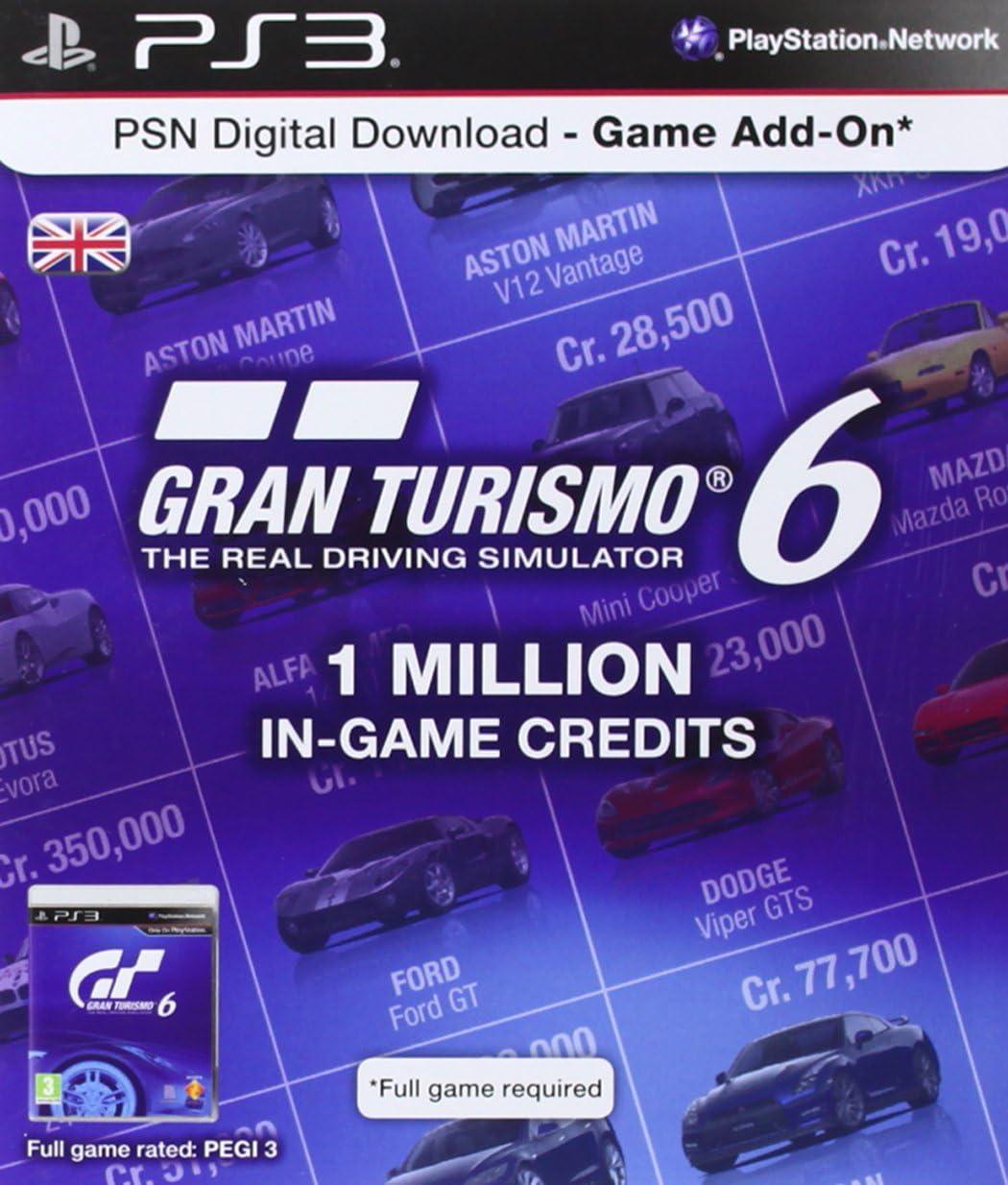 Psn Digital Download Card - 1 Million Gran Turismo 6 In Game Credits [Importación Inglesa]: Amazon.es: Videojuegos
