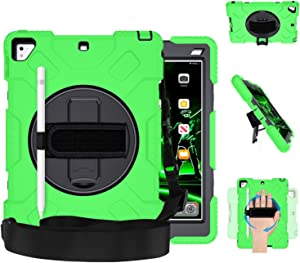 GROLEOA iPad 9.7 Case 6th/5th Generation iPad Case Drop Protection Military Level Rugged Protective Case 360 Rotation Stand Hand Strap Shoulder Strap Pencil Holder for iPad Air 2 Pro 9.7 Green