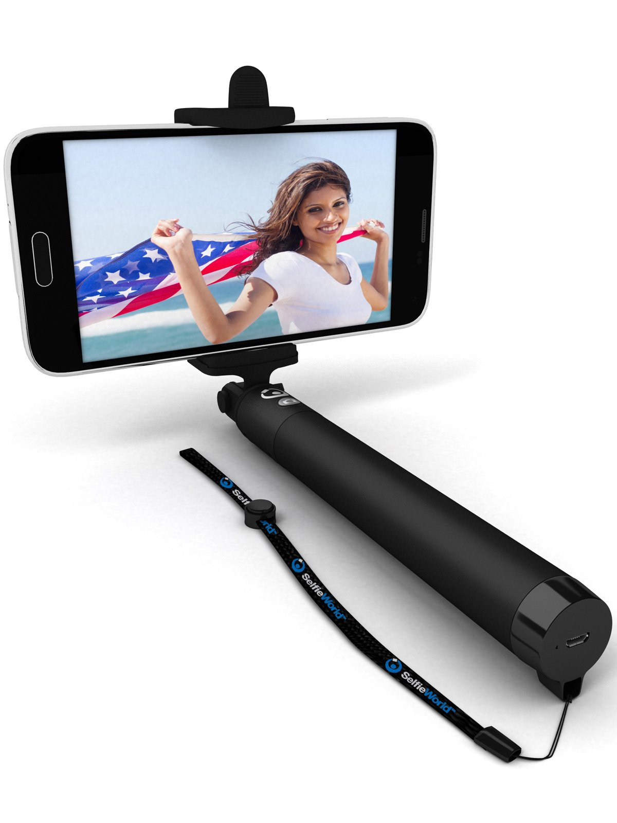 Premium 5-in-1 Bluetooth Selfie Stick for iPhone X XR XS 10 8 7 6 5, Samsung Galaxy S10 S9 S8 S7 S6 S5, Android - Selfie Sticks (Powered by USA Technology) Requires No Apps No Batteries No Downloads by Selfie World