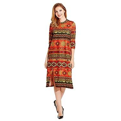 8292e4ef2 HÖTER 2017 New Womens Folk Vintage Style Refined Knitted Autumn Long Sleeve  Split Slim Dress(