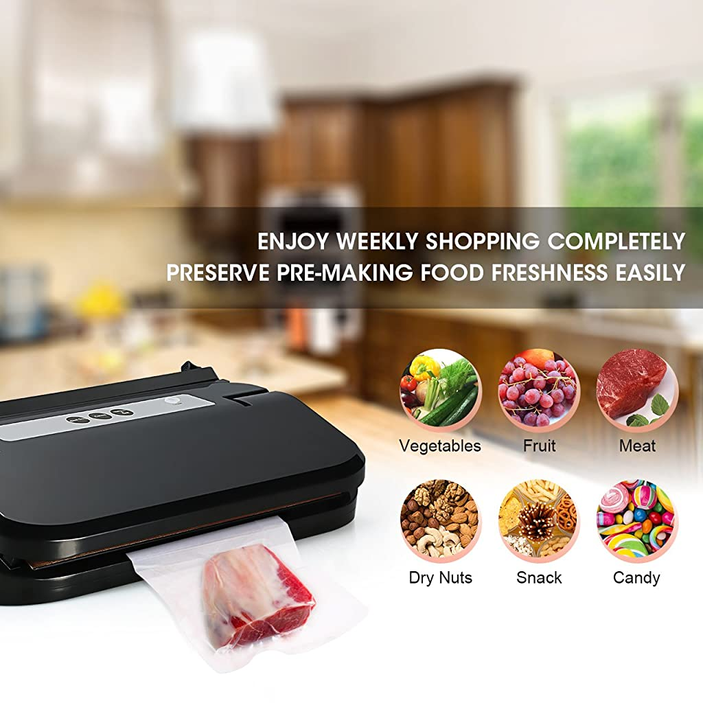Pictek Vacuum Sealer with Vacuum Tube, Easy One-Touch 2-in-1 Fully Automatic Food Vacuum Saver Sealing System Machine with Vacuum Roll, Cutter, Vacuum Tube