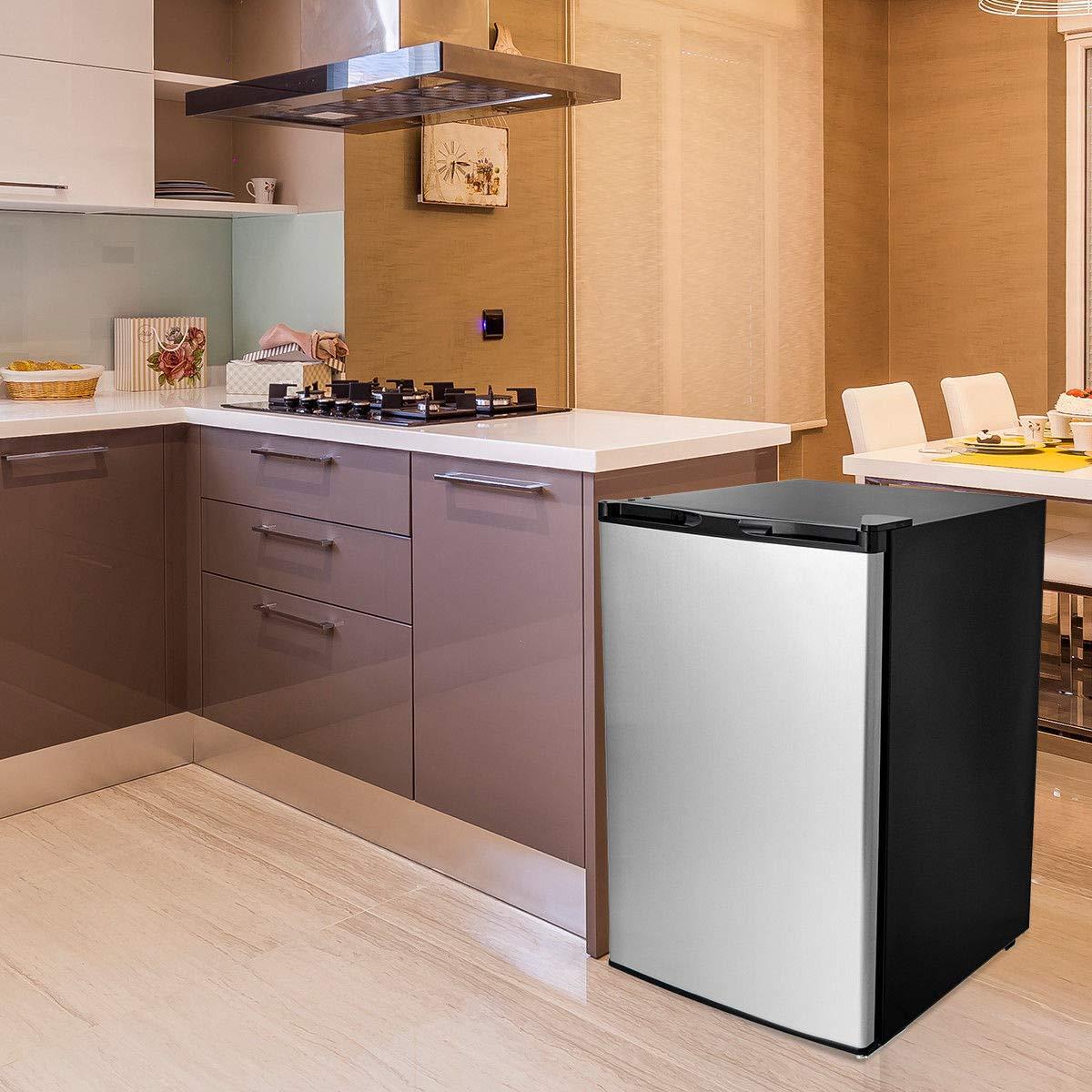 COSTWAY Compact Single Door Upright Freezer - Mini Size with Stainless Steel Door - 3.0 CU FT Capacity - Adjustable by COSTWAY (Image #3)