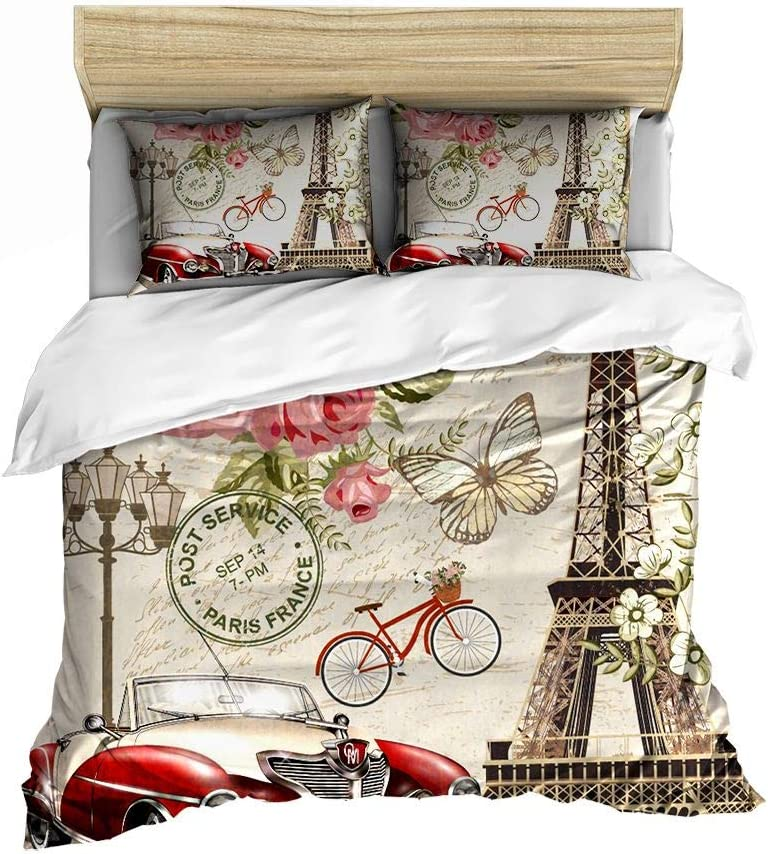 Eiffel Tower Pattern Fresno Mall Bedding Set S Max 86% OFF Cover Butterfly Duvet Printed