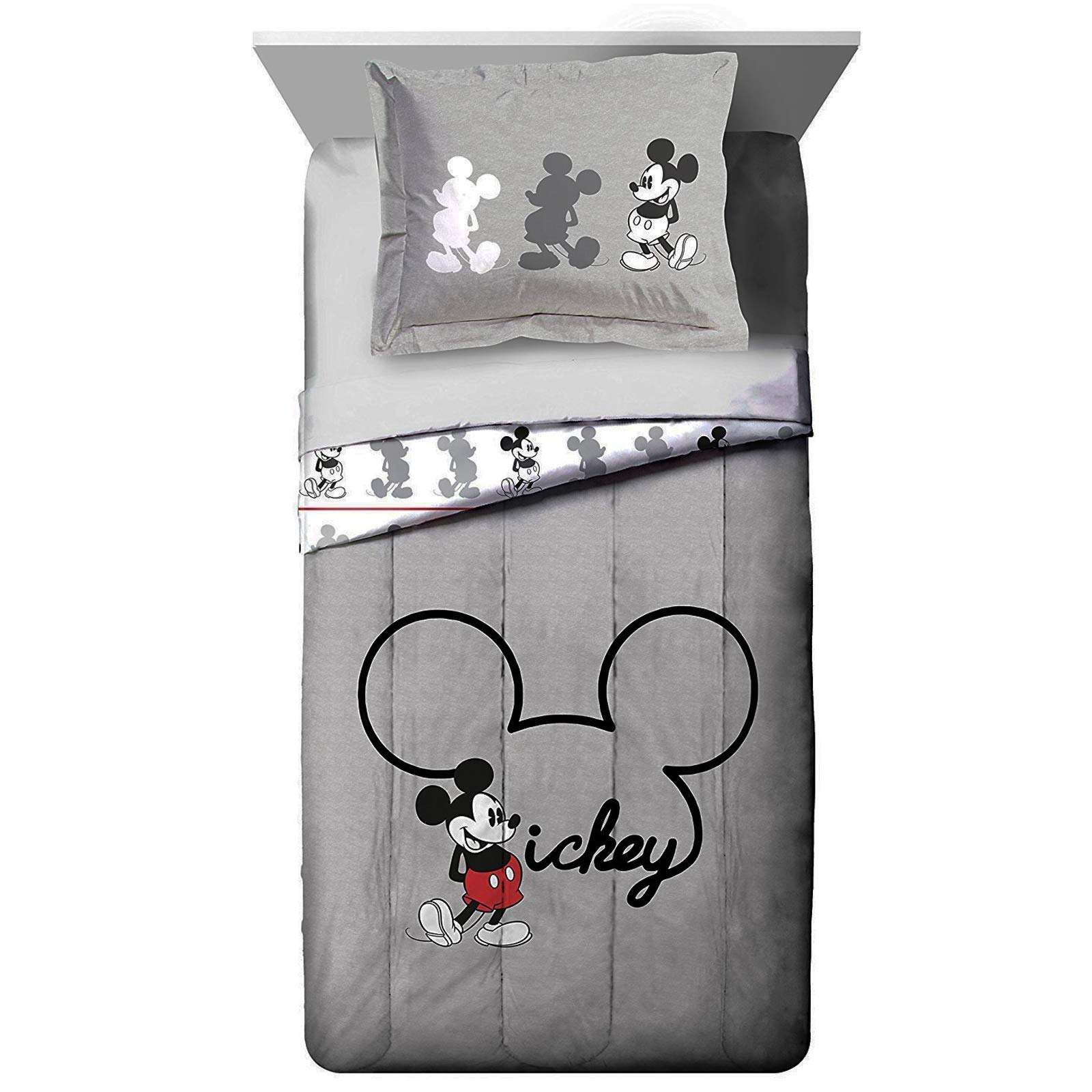Jay Franco Disney Mickey Mouse Jersey Twin/Full Comforter - Super Soft Kids Reversible Bedding Features Mickey Mouse - Fade Resistant Polyester Includes 1 Bonus Sham (Official Disney Product) by Jay Franco