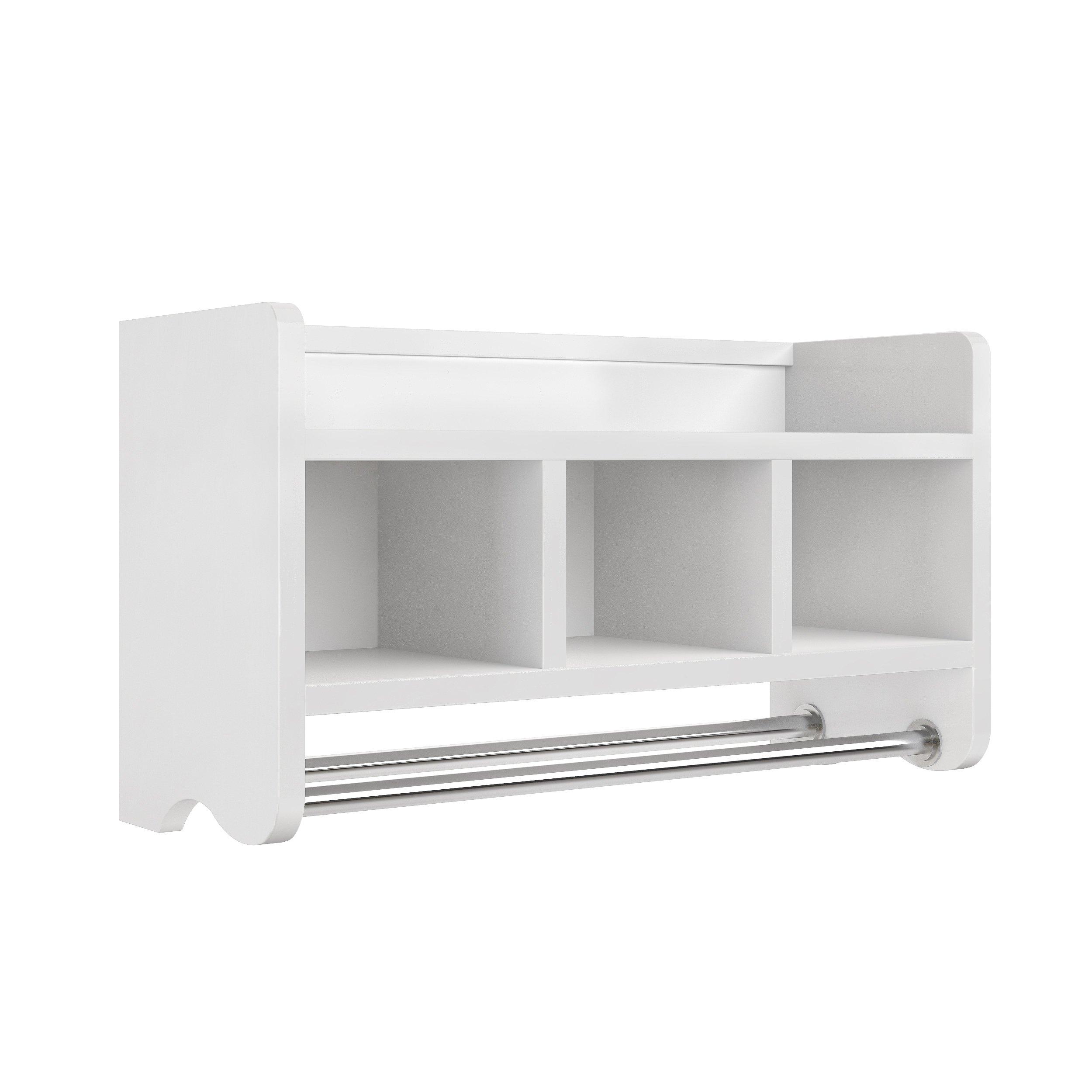 Logan 25'' Bath Storage Shelf with 3 Cubbies and Towel Rod, White