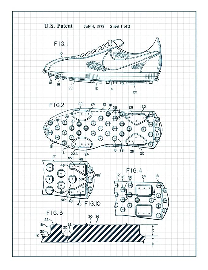Amazon Com Cleated Sole For Athletic Shoe Patent Print Art Poster