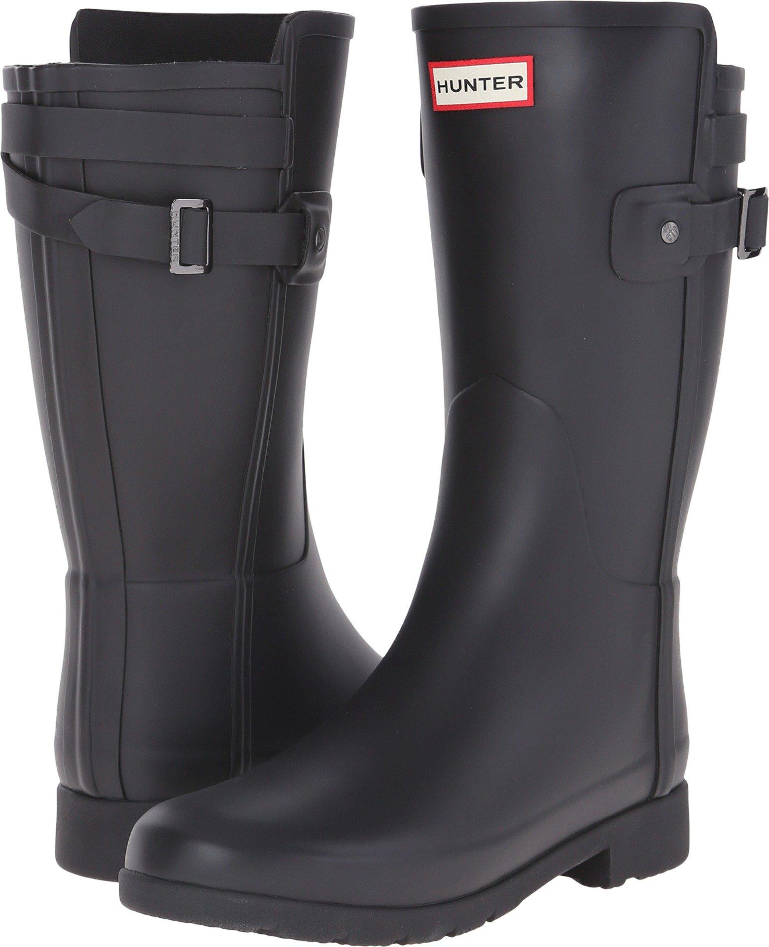 Hunter Women's Original Short Refined Back Strap Rain Boots Black 9 M US