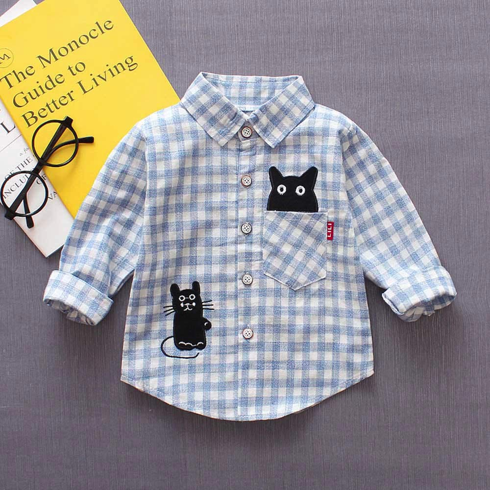 Toddler Baby Boys Gentleman Shirt Plaid Button Long Sleeves Casual Cotton Cat Tops Clothes