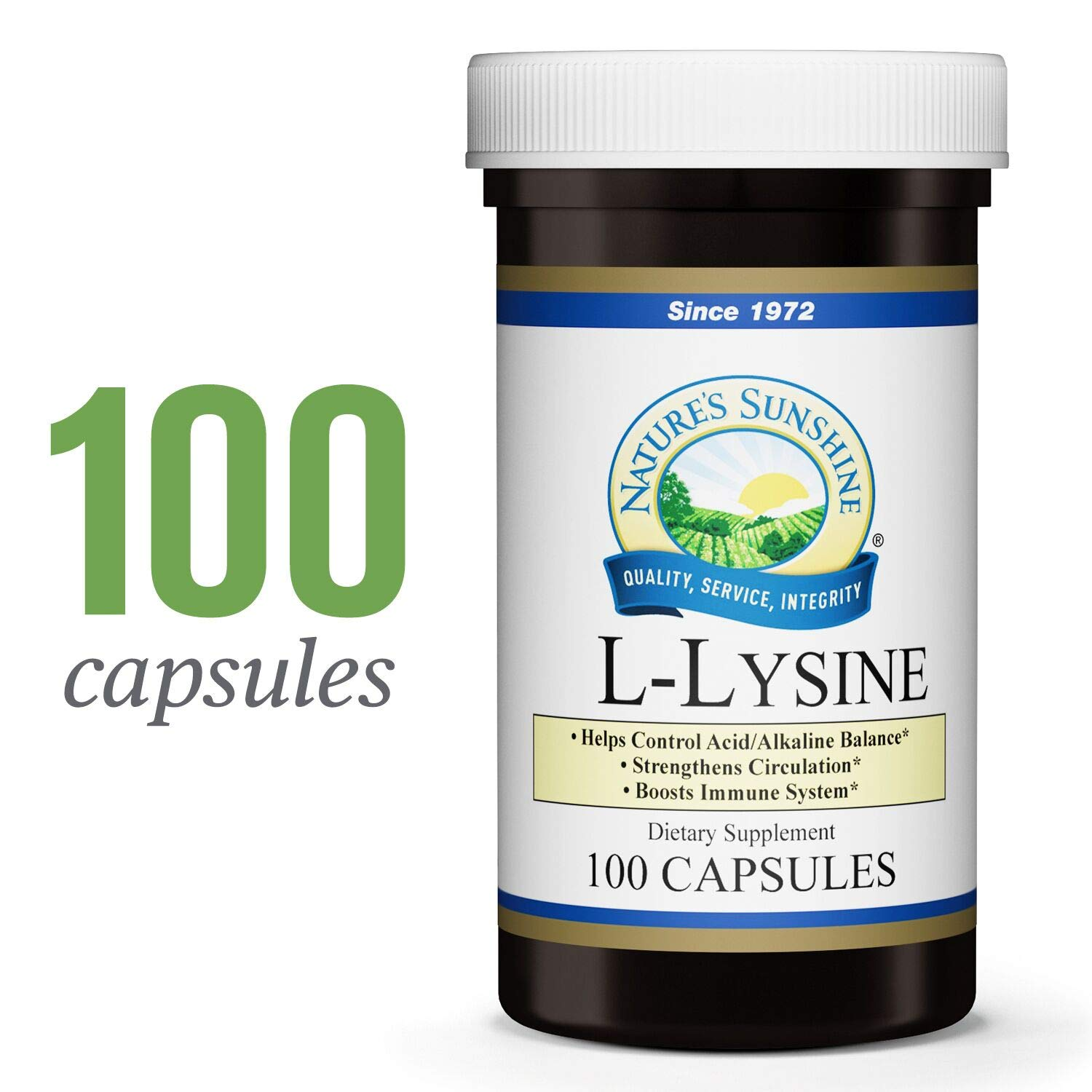 Nature's Sunshine L-Lysine, 100 Capsules | Essential Amino Acids Capsules with 474 mg of L-Lysine Hydrochloride to Help Your Body Control The Acid and Alkaline Balance by Nature's Sunshine