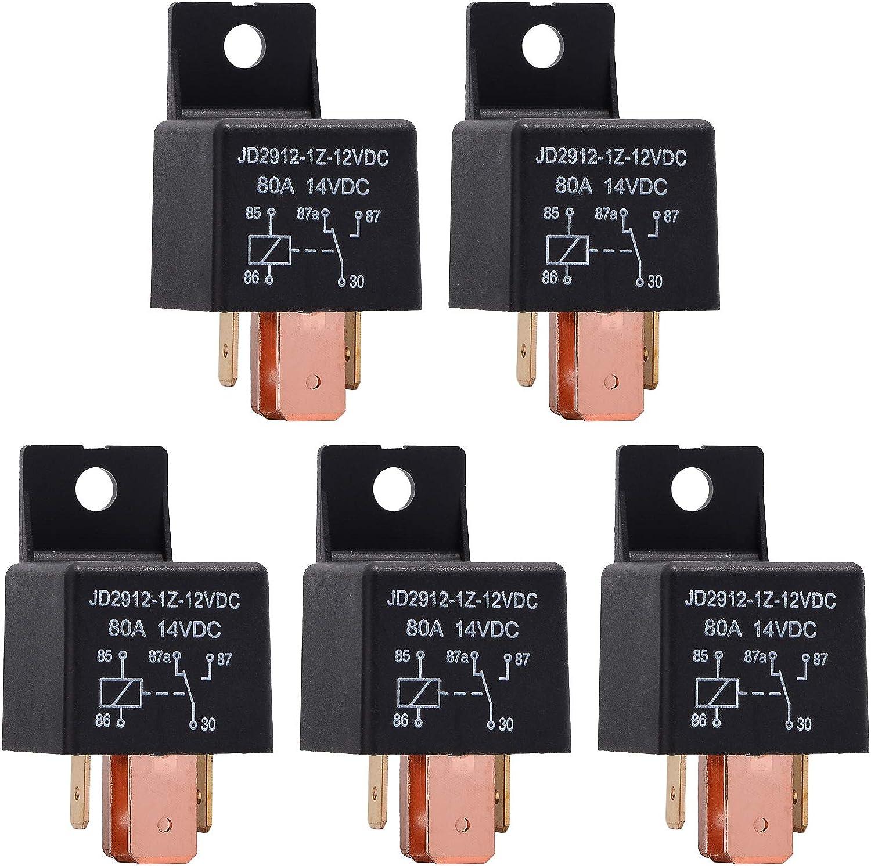 Ehdis® [5 Pack Interruptor 5-Pin del Coche del vehículo JD2912-1Z-12VDC 80A 14VDC SPDT Truck Van Barco Automotive Relay 12V