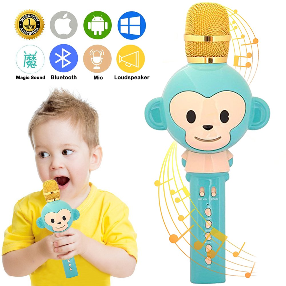 UVUXZLW Microphone for Kids Karaoke Microphone Bluetooth Wireless Microphone Portable Handheld Karaoke Machine Toys Gifts Singing Recording Home KTV Party iPhone Android PC Smartphone (Green)