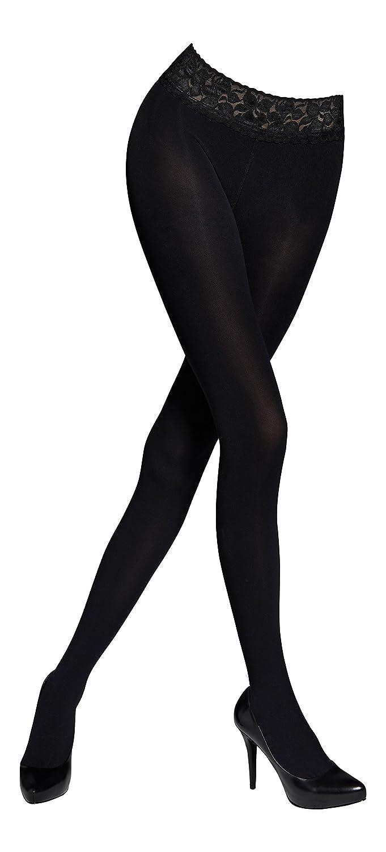 Womens Fashion Hosiery Low Waist 3D Microfibre Tights Lace Top, 100 Denier MARILYN