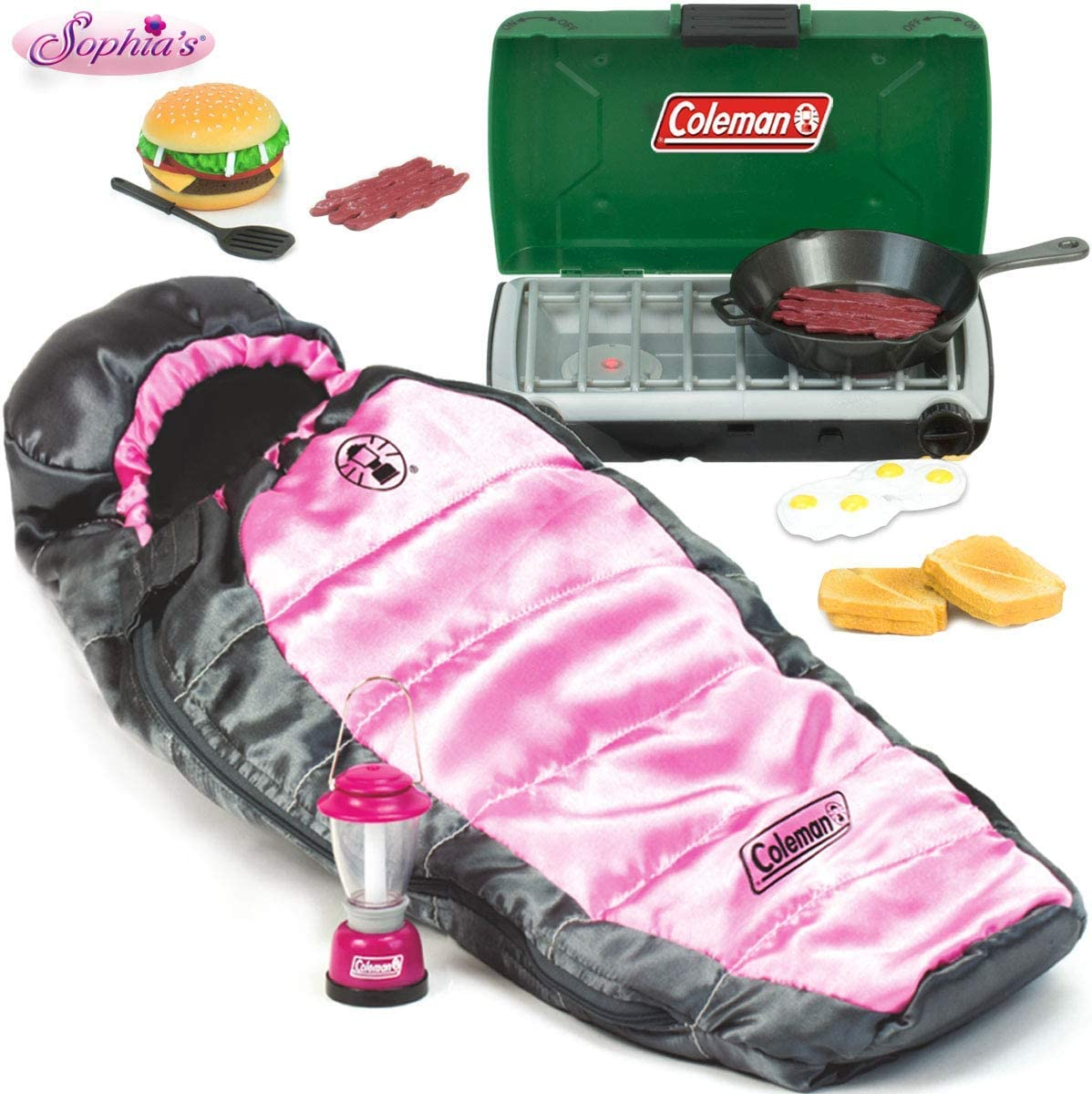 Sophia's Doll 12 Piece Coleman Camp Set for Dolls or Plush Includes Coleman Lantern, Sleeping Bag, Stove and Doll Sized Food