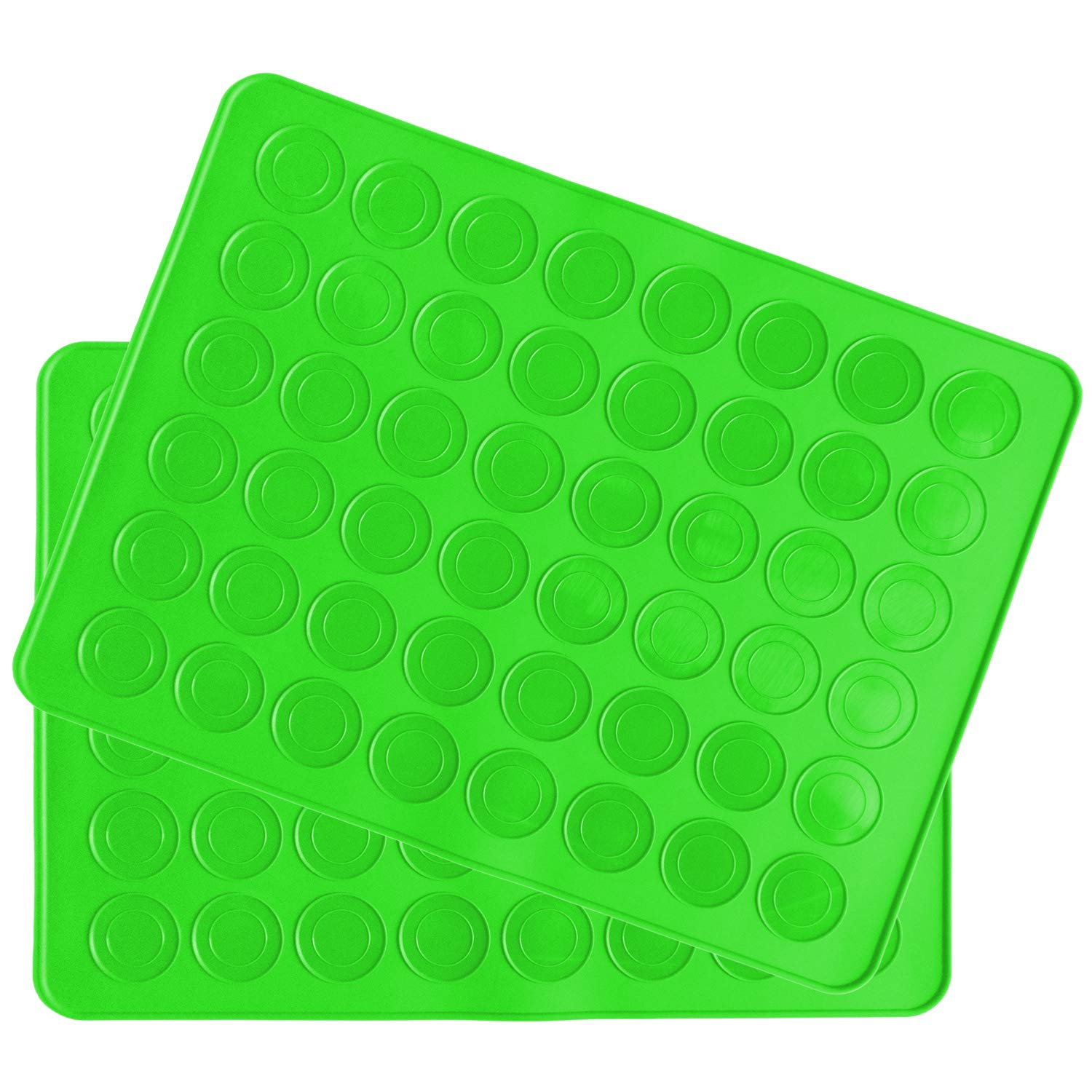Belmalia 2 macaron silicone baking mats for 48 perfect macarons, 96 moulds, non-stick coated, 38x28cm Green BM-1002grx2