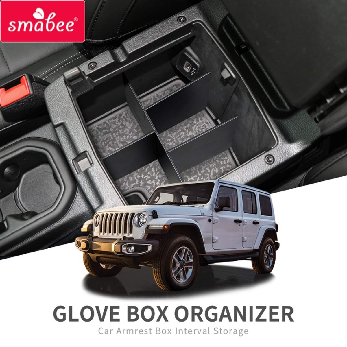 SMABEE Car Armrest Box Interval Storage for Jeep Wrangler JL//JLU 2018 2019 Jeep Gladiator JT 2020 Console Tidying Box Black Central Storage Box