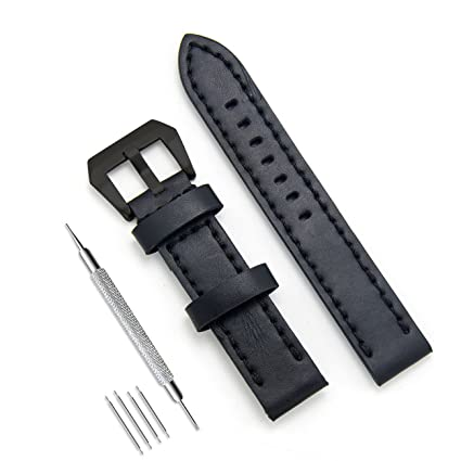 29f9afcb868 Image Unavailable. Image not available for. Color  MEGALITH Genuine Leather  Watch Band 20mm 22mm 24mm Leather Watch Strap Top Calf Grain ...
