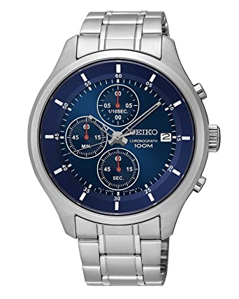 707113c79 Amazon.com: New Seiko SKS549 Chronograph Stainless Steel Blue Dial 100M  Men's Watch: Watches