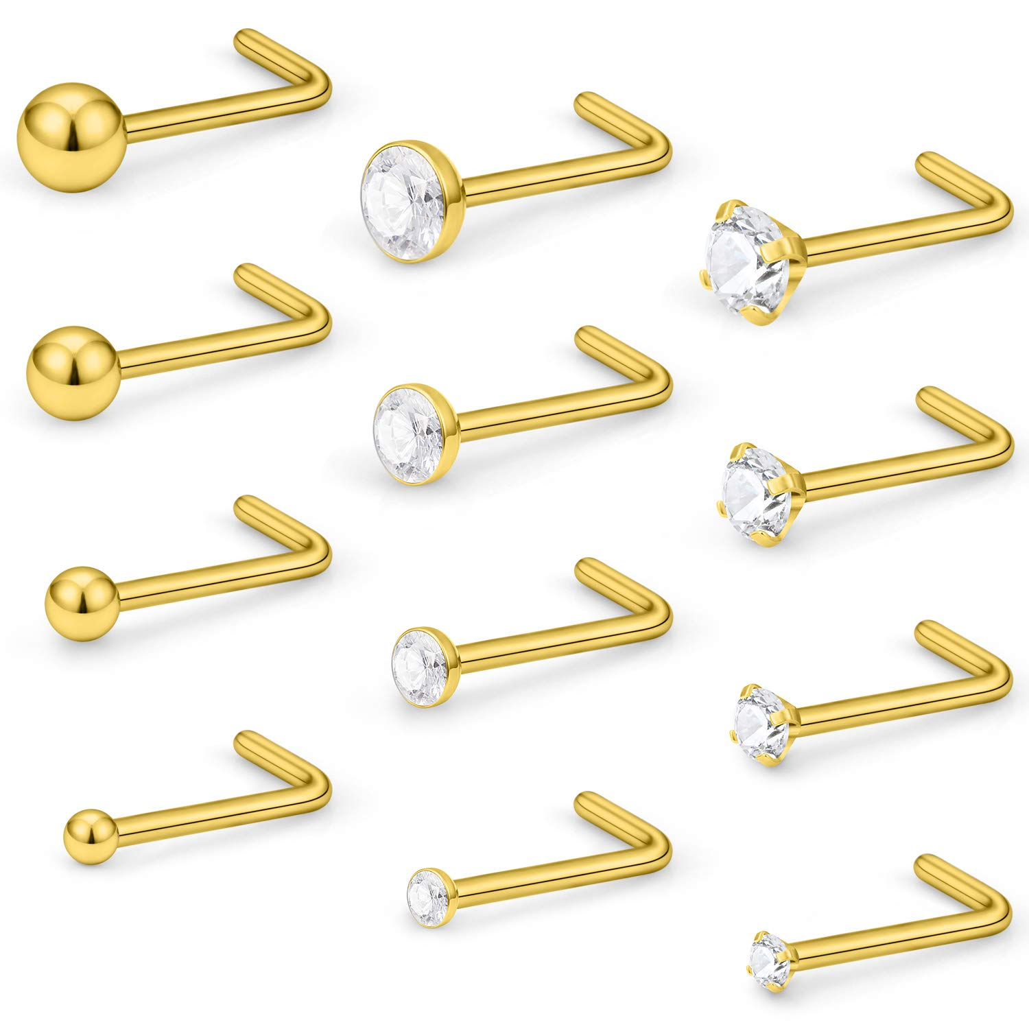 5d411389e Lcolyoli 18 20G 12 Pcs Stainless Steel Nose Rings Studs L-Shape Piercing  Body Jewelry 1.5mm 2mm 2.5mm 3mm Clear Cubic-Zirconia Inlaid LCOW-0071