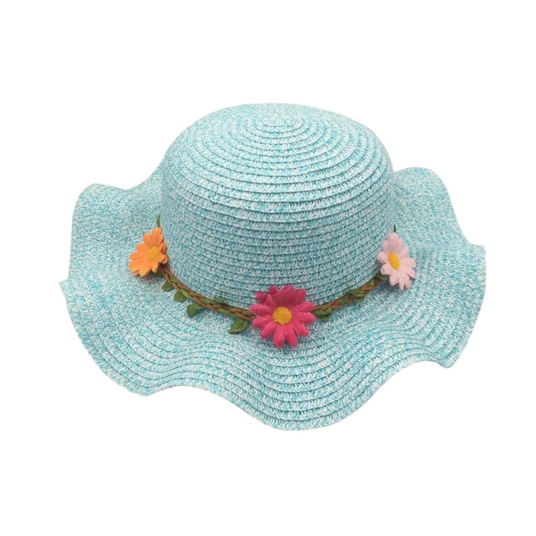 184bfccf87f2d Sunflowers Sun Hats for Women Beach CAPS Baby Girls Sun Visor Cap Wave Edge  Stra