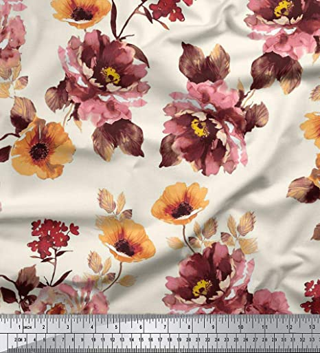 RayonViscose Fabric Floral Print Green 3 Yards Width 44 Crafts Sewing