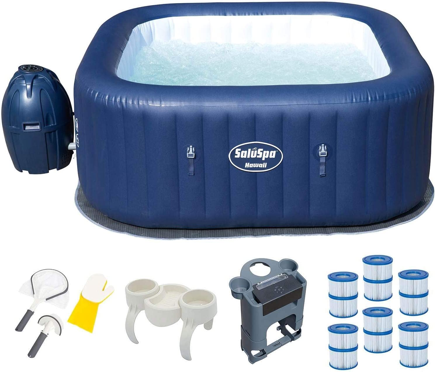 Bestway 6 Person Inflatable Hot Tub + Music Center + 6 Filters + Cleaning Set