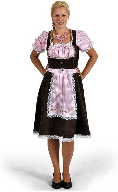 Disfraz de Traje Bávaro de Mujer Resi, Dirndl - Vestido del Traje Típico, Largo hasta la Rodilla, con Adornos de Encaje, Ideal para el Oktoberfest o Carnaval - 48/50: Amazon.es: Ropa y accesorios