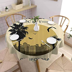 DILITECK Apartment Decor Collection Terrace Round Tablecloth Los Angeles City from California in Vintage Style Birds Vacation Journey Design Picnic Cloth Diameter 63 Ivory Olive Red