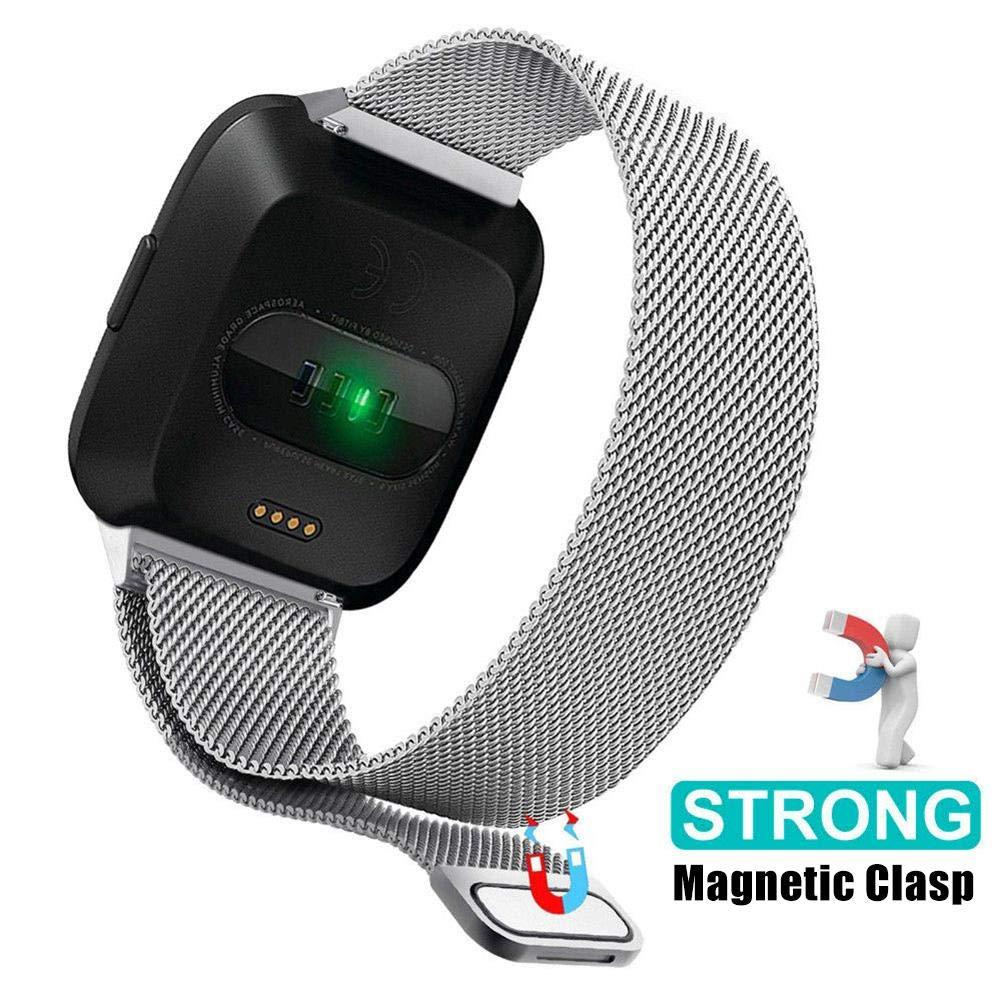 cinturino magnetico in metallo milanese cinturino da polso in acciaio inossidabile cinturino da polso di ricambio per donna e uomo Cinturino per orologio Fitbit Versa Fitbit Versa Lite Smart