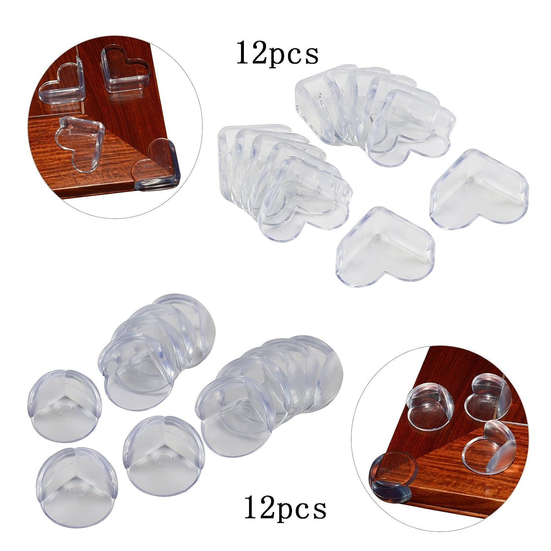 24 Pcs Coin De Table Protection, KAKOO Protege Angle Bébé Anti-choc Coins De Table Deux Forme Protections D'angles Sécurité Enfant Avec Adhésifs Pour Tables Pointus Meubles