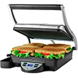 Ovente 4 Slice Electric Indoor Panini Press Grill with Non-Stick Double Flat Cast Iron Cooking Plates & Removable Drip Tray,
