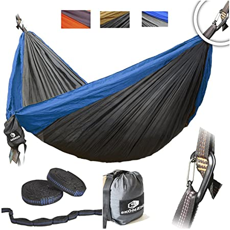 Skonzig Single, Double Camping Hammock – Lightweight Deluxe Portable Parachute Nylon – Include Heavy-Duty Carabiners Tree Straps.