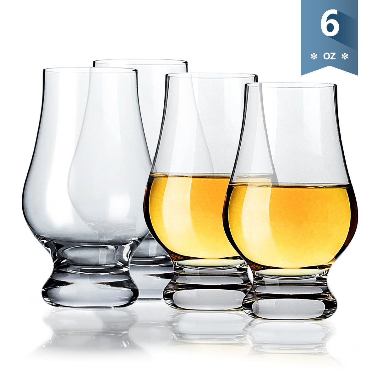 Sweese 4697 Whiskey Glasses - Crystal glass Perfect for Scotch and Bourbon, 6 Ounce, Set of 4