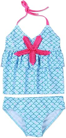 iiniim Girls 2 Piece Halter Tankini Swimsuit Mermaid Ruffle Tank Top with Bottoms Swim Brief Swimwear Beachwear
