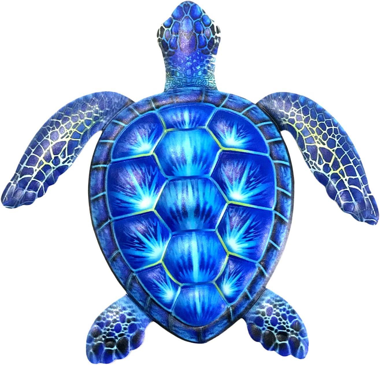 MagiDeal Sea Turtles, Beach Metal Art, Nautical Wall Hanging Figurines Home Decoration, Under The Sea Marine Life Animals, Handmade - Blue