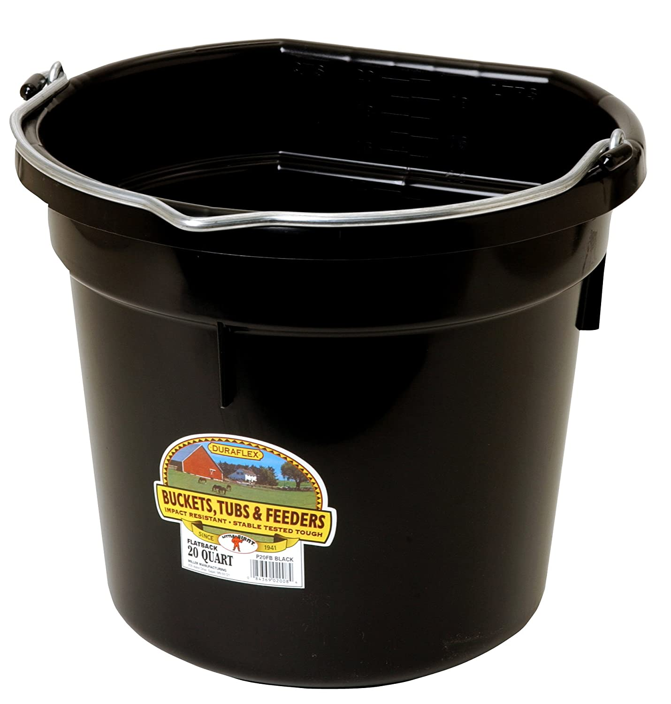Duraflex Flat Back Bucket 20 Qt Miller Manufacturing P20FBBLACK