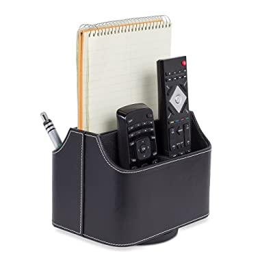 Internet's Best PU Leather Revolving Remote Controller Holder | Desk & Coffee Table Storage for Mail, Tablet, Phone & Remote Controllers | Black
