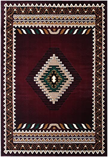 South West Native American Area Rug Design C644 Burgundy 8 Feet X 10 Feet