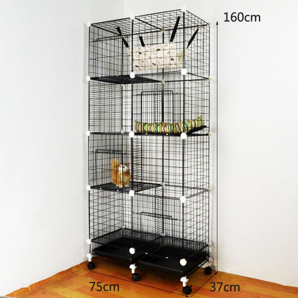 折り畳み式の金属製犬クレート,小型犬猫ケージ ウサギのケージを二層 スリーピース ペット フェンス ホイールとトレイの鉄ケージ ステンレス犬ケージ箱-H B07CVTMMHT 23193 H H