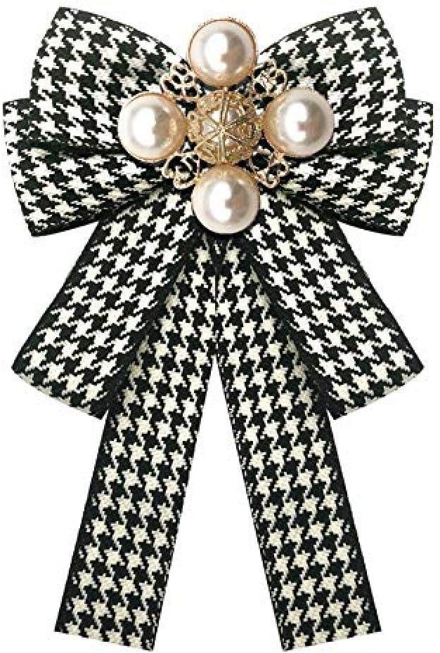 FOPUYTQABG Broche Broche Clásico Cuadros Estampado de Rayas Arco Exquisito Broche de Moda Lona Perla Pajarita Broche Collar Exquisito Broche de Moda Camisa de Mujer Col