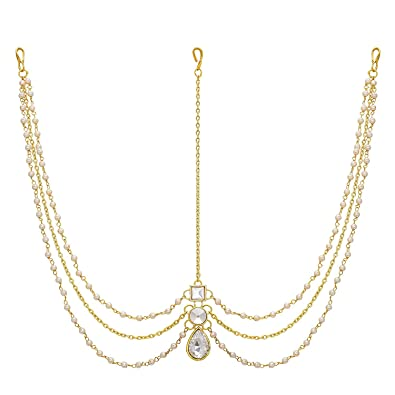 c317f3cb9e Amaal Hair Jewellery Traditional Bridal Gold Pearl Chain Mathapatti  Necklace Maang Tikka Jewellery Set for Women Girls- Maang Tikka-A7108:  Amazon.in: ...