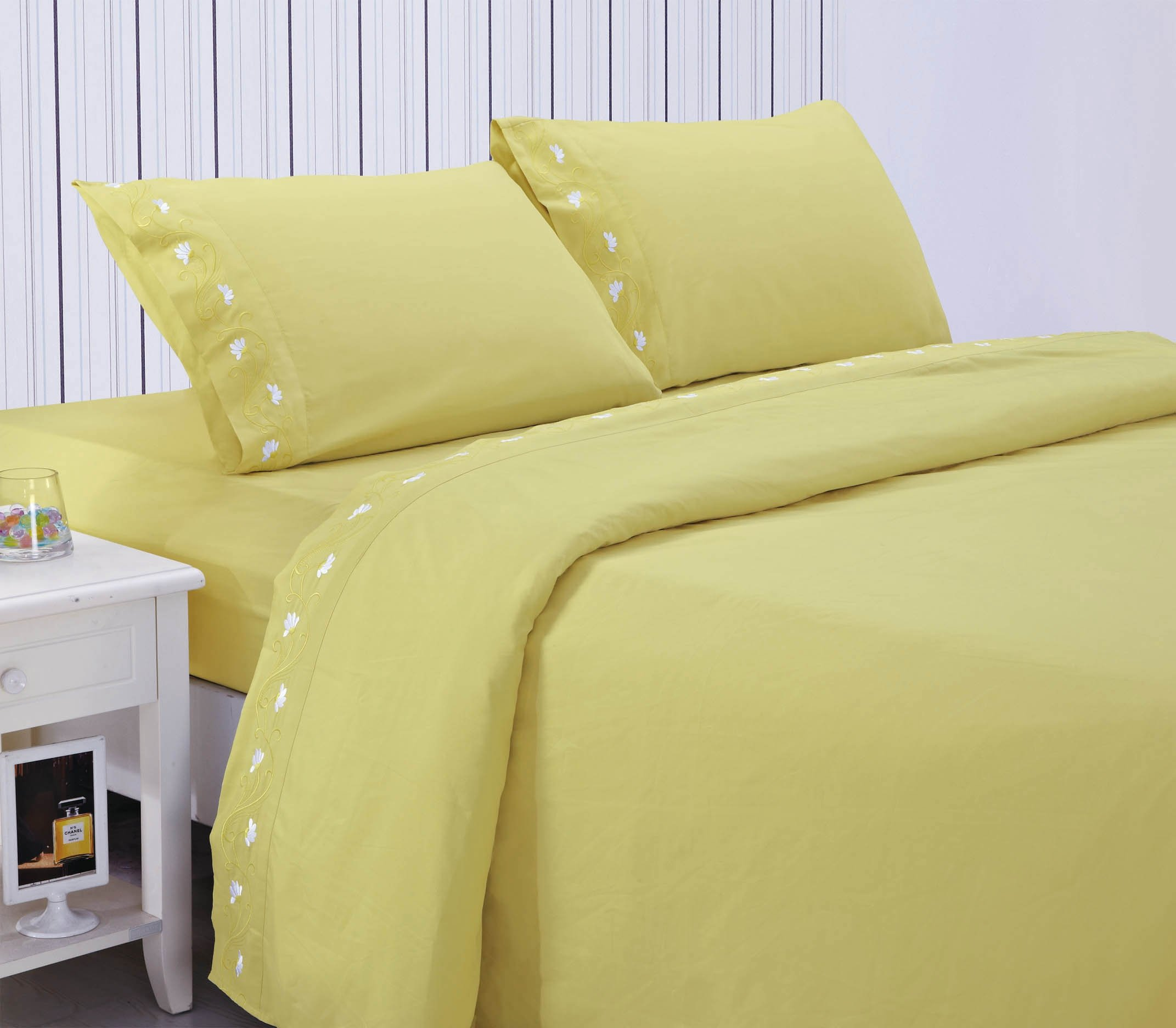 Home Simplicity 90GSM Embroidery Sheet Set, Queen, Chartreuse - Contains one flat sheet, one fitted sheet and two standard pillow cases Fits up to 17 inch deep mattress! Machine washable and tumble dry - sheet-sets, bedroom-sheets-comforters, bedroom - 719S3k5PU0L -