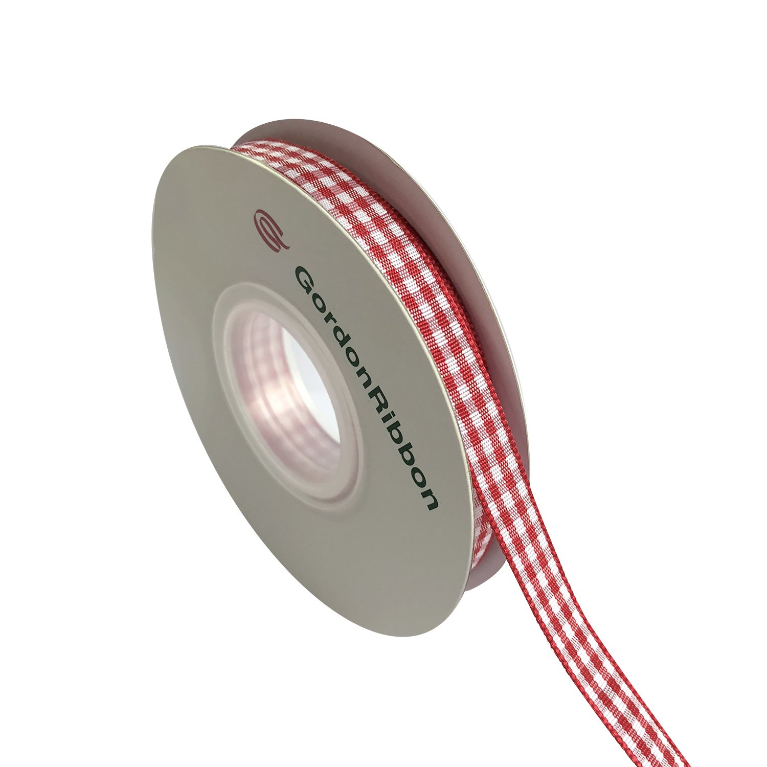 Red Gingham Woven Edge Ribbon, Checkered Craft, 25 Yards Long per Spool, 3/8 inch Wide GordonRibbon 4336858083