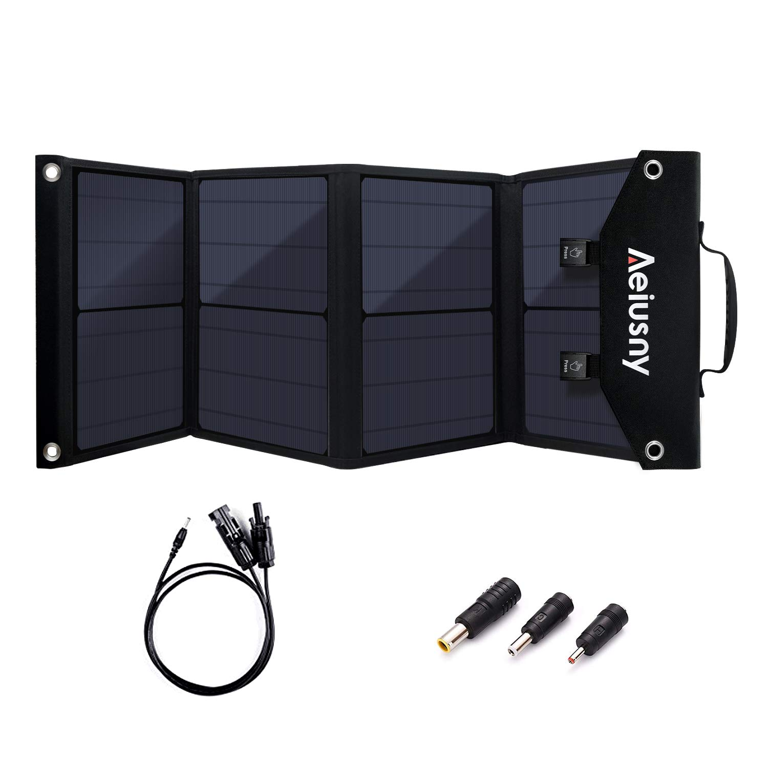 Aeiusny Solar Panel Foldable 60W Portable Solar Charger for Suaoki Jackery Webetop Portable Generator Goal Zero Yeti Power Station USB Devices, QC3.0 USB Ports Including Aeiusny Generator Solar Cable