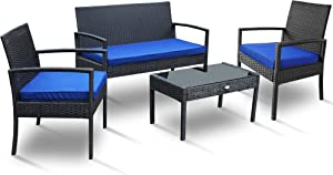 PAOLFOX 4 Pieces Patio Rattan Furniture Set,Outdoor Conversation Set w/Weather Resistant Cushions Tempered Glass Tabletop for Garden, Lawn Pool, Backyard, Poolside (Blue)