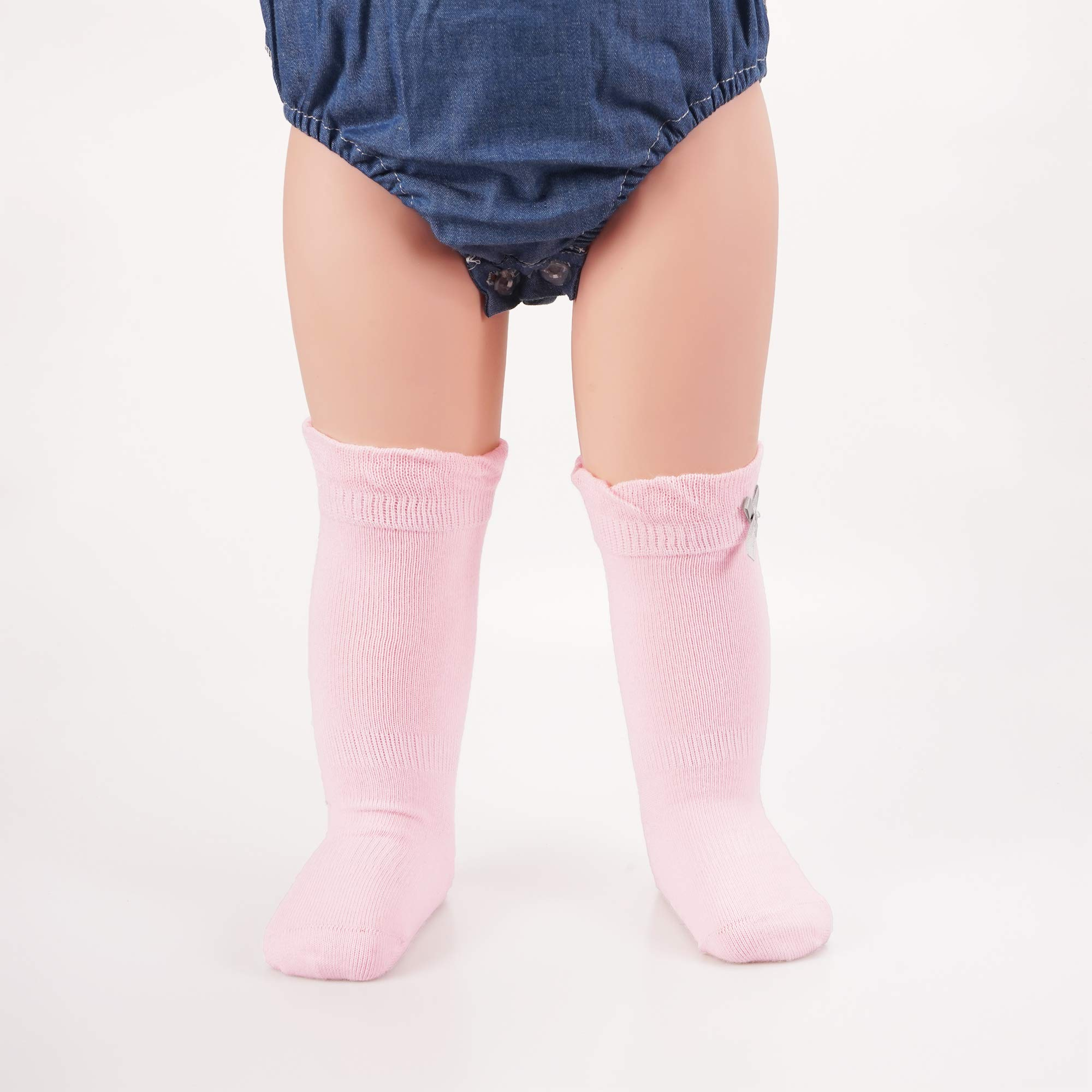 Baby Girls Boys Cotton Uniform Knee High Socks Tube Ruffled Stockings (Assorted 6 Pack-Solid Color, 2-4T)