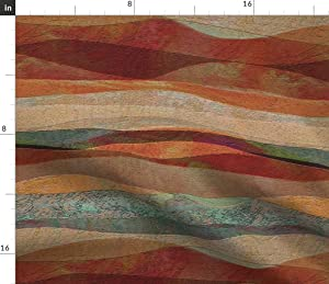Spoonflower Fabric - Desert Coral Orange Teal Green Turquoise Southwest Art Landscape Stone Printed on Organic Cotton Sateen Fabric by The Yard - Sewing Quilting Apparel Home Decor