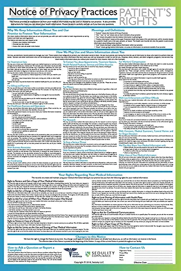 Sedulity Compliance Spanish HIPAA Notice of Privacy Practices Poster